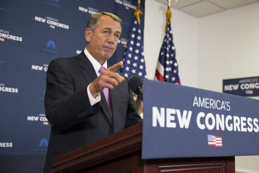 House Speaker John Boehner, seen at a news conference on Jan. 27, couldn't get a majority of Republicans to support a bill to fund the Department of Homeland Security that ended up passing with Democratic backing.