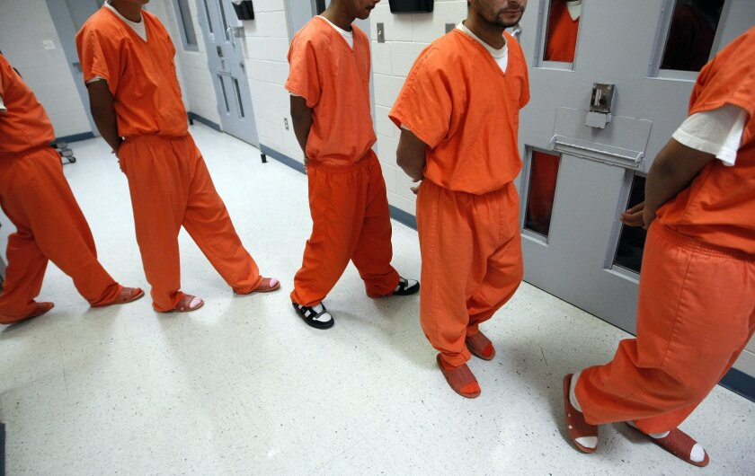 New federal inmates being processed at the Val Verde Correctional Facility in Del Rio, Texas.