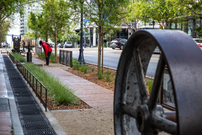 The first portion of the 14th Street Greenway in East Village features industrial machines.