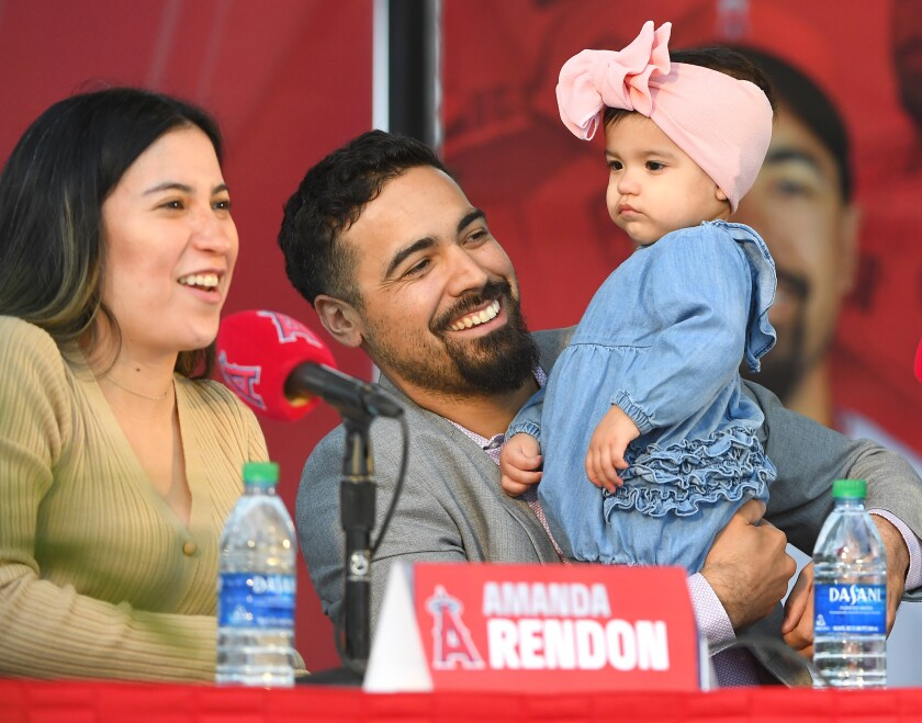 Anthony Rendon with his wife, Amanda, and daughter, Emma, at an introductory news conference Dec. 14, 2019, at Angel Stadium.