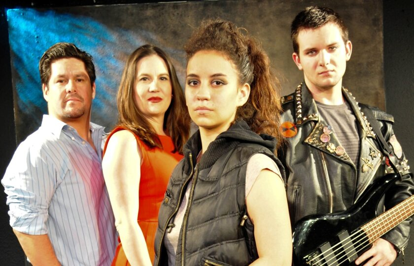 """Paul Araujo, Wendy Waddell, Daniela Millan and Anton Mabey (left to right) appear in Moxie Theatre's """"Lesson 443."""""""