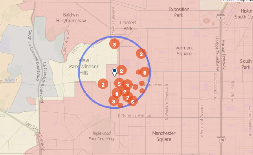 The map shows homicides reported in an area surrounding Hyde Park, where a woman was shot and killed Monday.