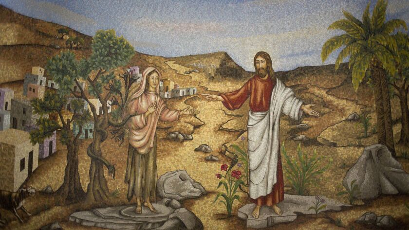 A mosaic of Mary Magdalene and Jesus at the Magdala Center in Migdal, Israel.