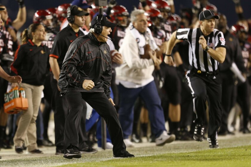 Aztec Coach Rocky Long reacts to  an  Eric Pinkins interception of Riley Nelson that was returned the interception for 25 yards. SDGST was penalized 15 yards.