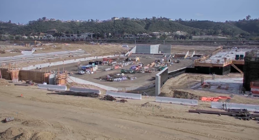 A snapshot from livestream view looking south from Friars Road on Aztec Stadium project at SDSU Mission Valley.