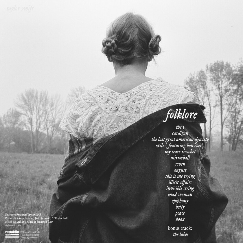 "The album back cover for Taylor Swift's ""Folklore."""