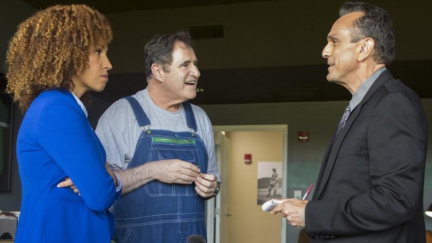 "Tawny Newsome, left, Richard Kind and Hank Azaria in ""Brockmire"" on IFC."