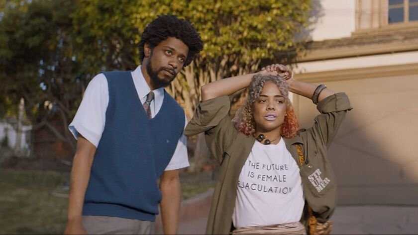 "Lakeith Stanfield and Tessa Thompson appear in ""Sorry to Bother You"" movie by Boots Riley, an offici"