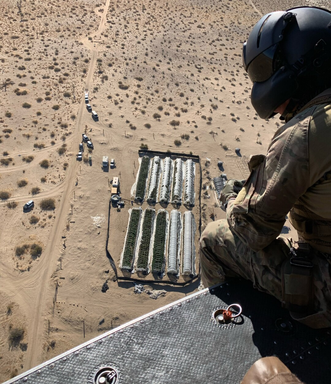 An aerial image of three illegal marijuana grow farms discovered in the Antelope Valley.