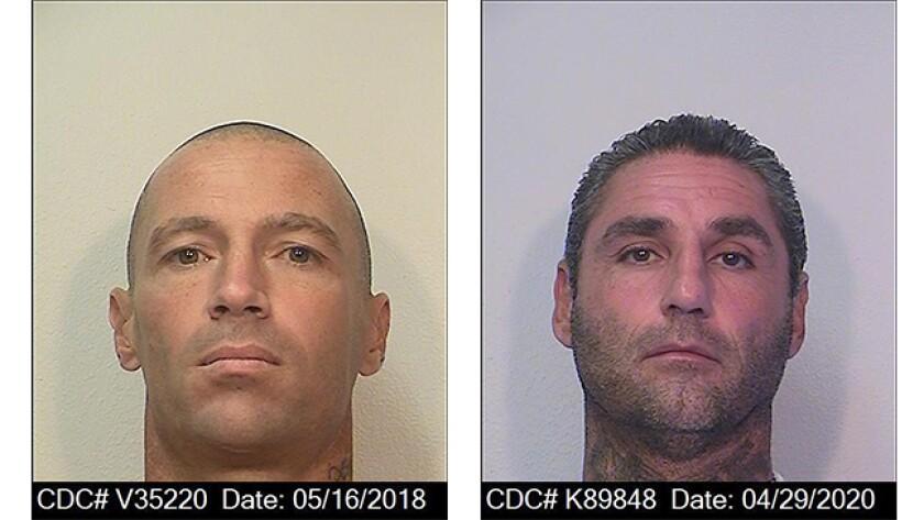 Inmates Matthew Thornton, left, and Michael Arzaga