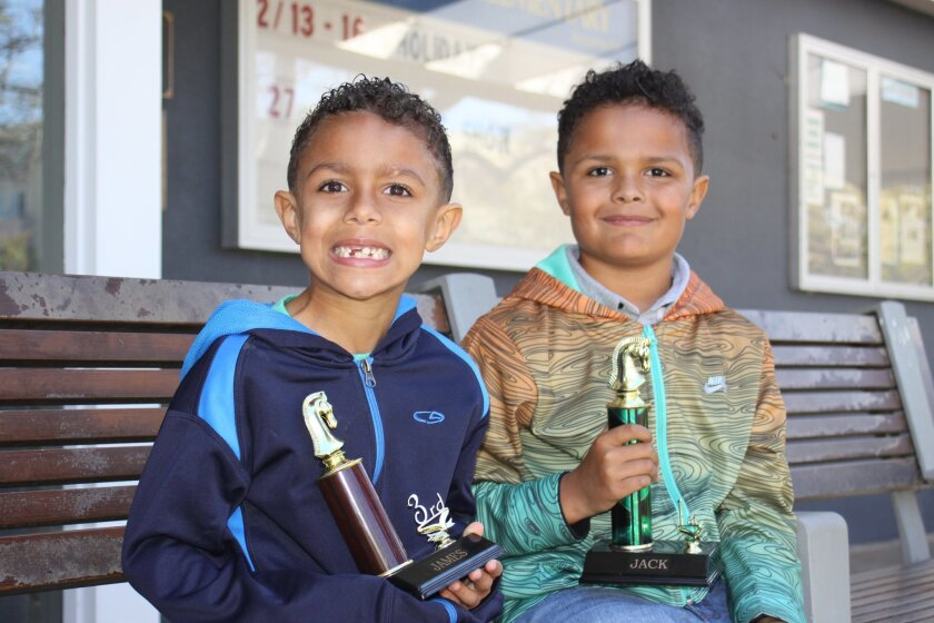 James and Jack Kinsey of La Jolla took third and first place in the Mountain Lakes Chess Academy Chess tournament in their division.