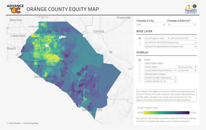 The Orange County Equity Map reveals social and health disparities among the county's populations.