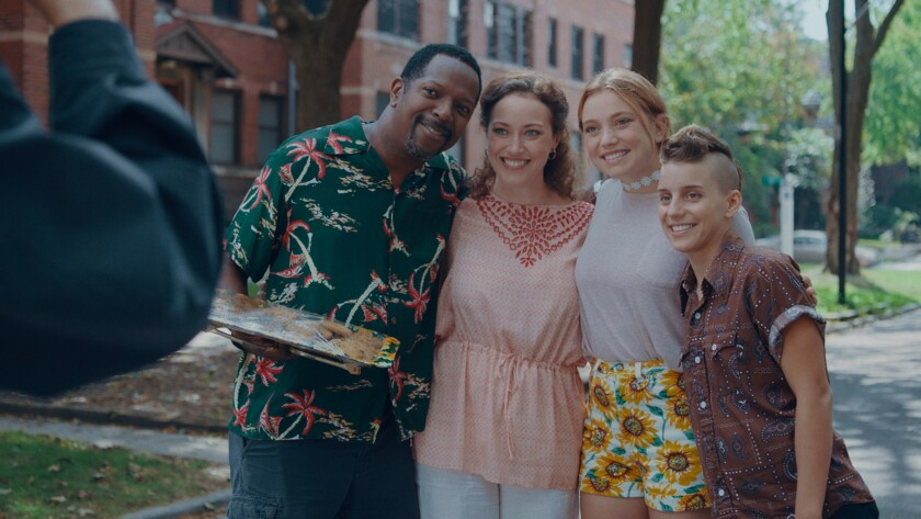 (L-R) - James Vincent Meredith, Rebecca Spence, Jessie Pinnick and Malic White in a scene from the m
