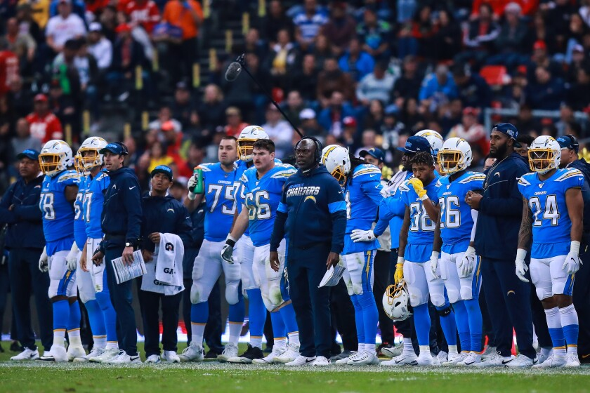 Chargers coach Anthony Lynn looks on second half of a game against the Chiefs on Nov. 18 in Mexico City.