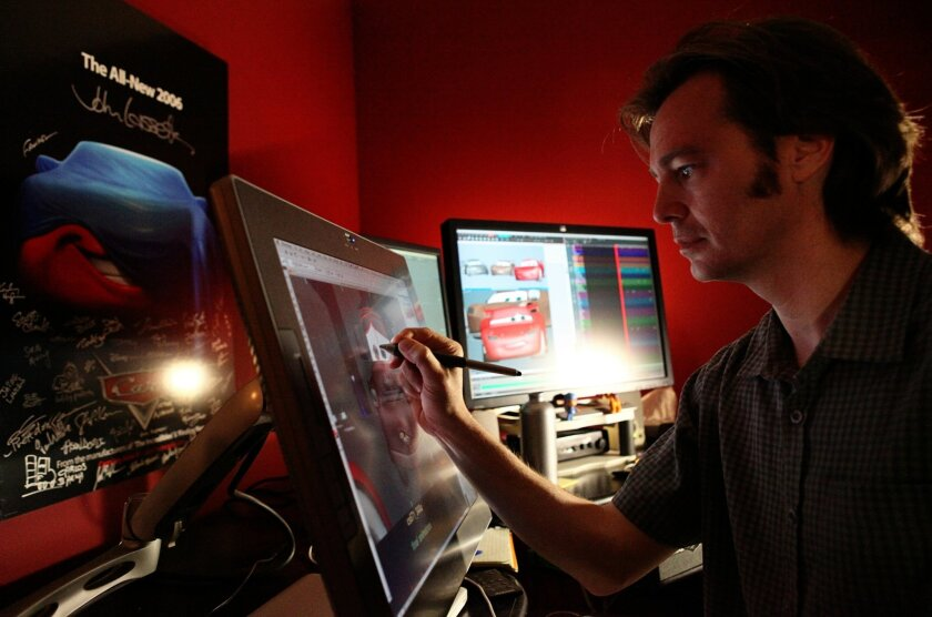 """Cars 2"" Directing Animator Victor Navone works in his office Pixar Animation Studios in Emeryville. Deborah Coleman / Pixar"