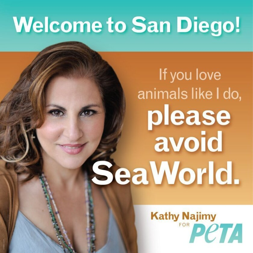 People for the Ethical Treatment of Animals (PETA) is suing the San Diego International Airport after its advertising vendor chose not to accept $17,500 for an ad urging tourists to stay clear of SeaWorld. The ad features actress Kathy Najimy. Courtesy PETA, photo by Robin Layton