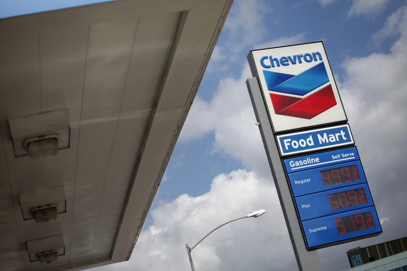 A Chevron gas station in downtown Los Angeles on Oct., 21, 2012.