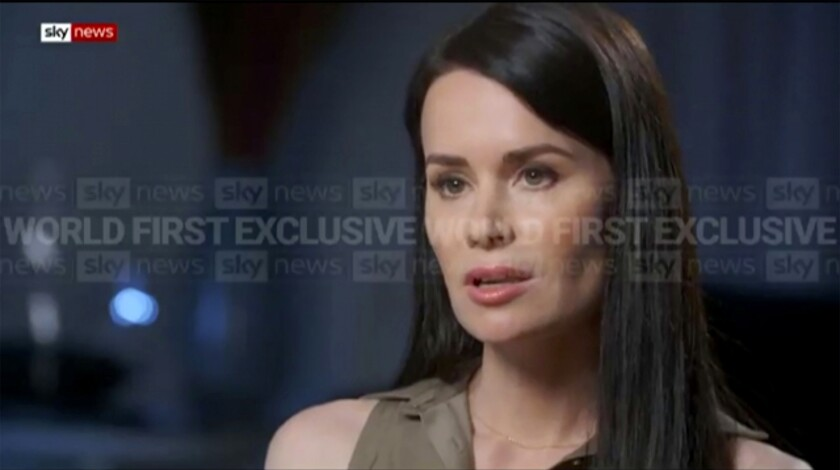 In this image made from video, Kylie Moore Gilbert, British-Australian academic detained in Iran, speaks during an interview with broadcaster Sky News Australia, on Tuesday, March 9, 2021. Moore-Gilbert said in a television interview broadcast on Tuesday that she endured psychological torture during more than two years in Iran prisons. (Sky News Australia via AP)