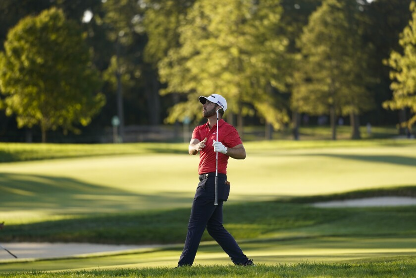 Matthew Wolff plays a shot off the 17th fairway during the third round of the US Open Golf Championship, Saturday, Sept. 19, 2020, in Mamaroneck, N.Y. (AP Photo/Charles Krupa)