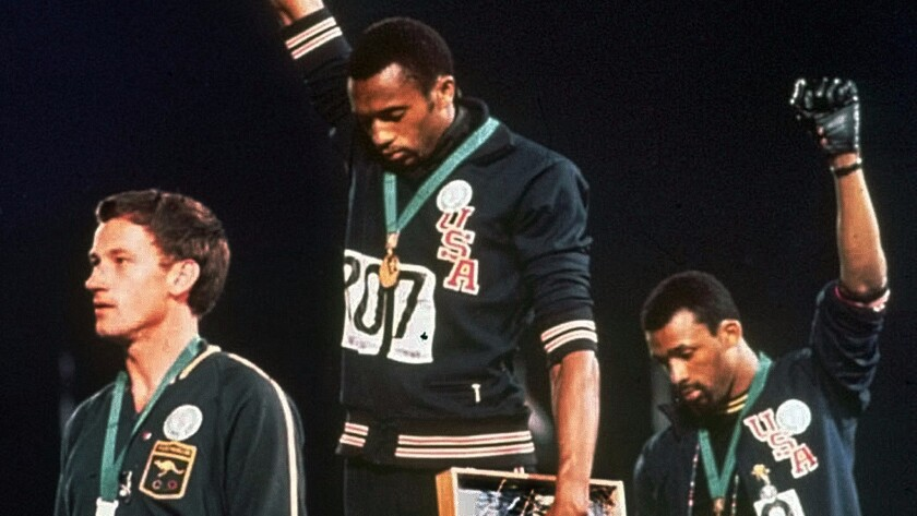 Tommie Smith and John Carlos at the 1968 Summer Olympics in Mexico City.