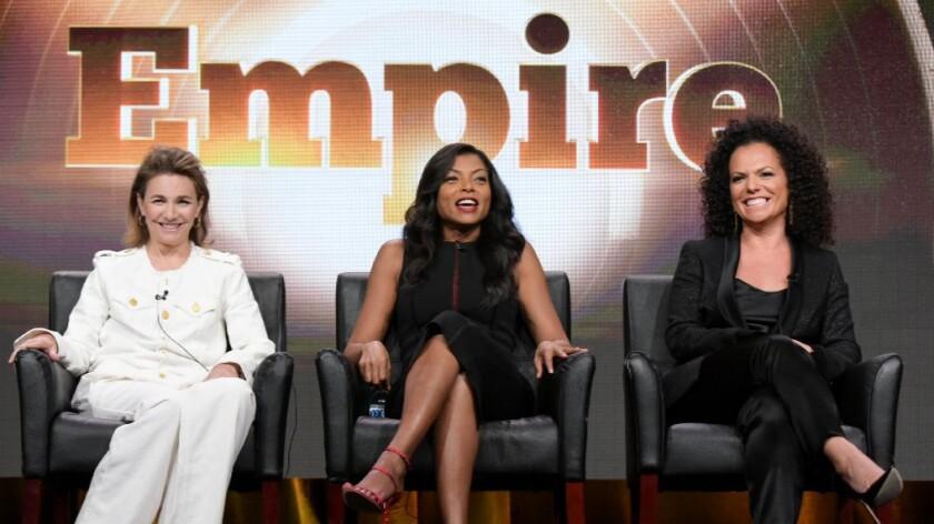 Ilene Chaiken, left, Taraji P. Henson and Sanaa Hamri at the Television Critics Assn. press tour on Monday in Beverly Hills.