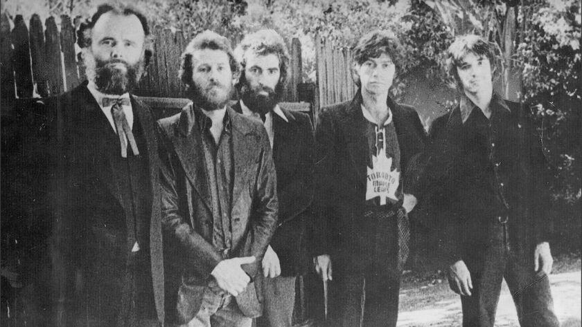 The Band's members L/R Garth Hudson, Levon Helm, Richard Manuel, Robbie Robertson and Rick Danko circa 1969.