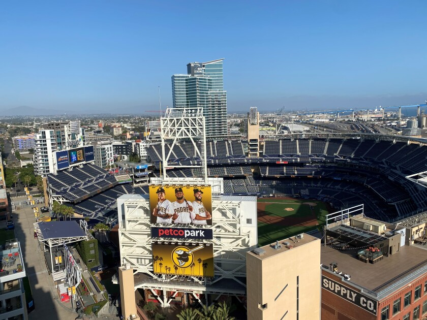 The view where fans can watch games at Petco Park from a hotel rooftop and other places in San Diego.