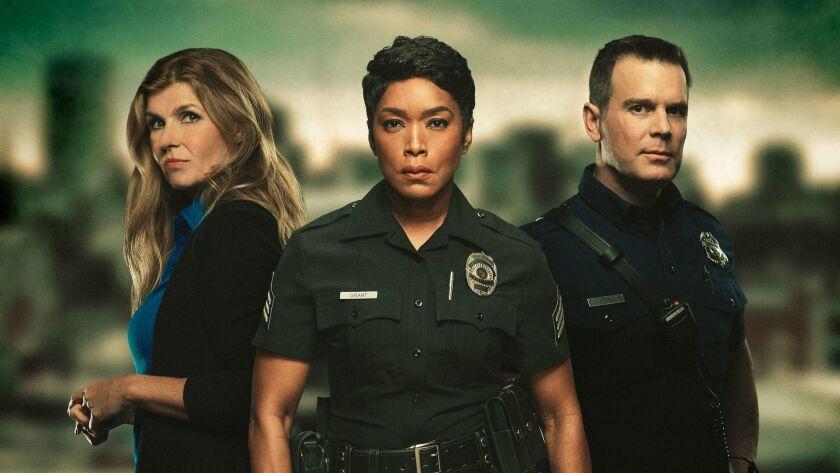"Connie Britton, Angela Bassett and Peter Krause in Fox's ""9-1-1."""