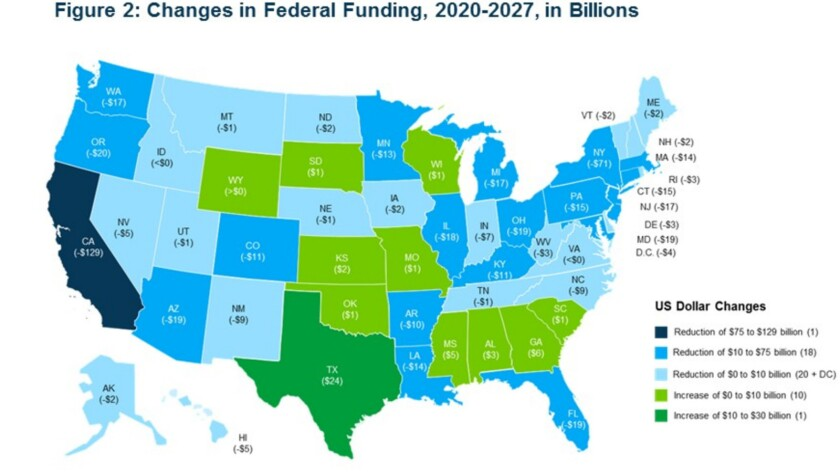 Federal funding in 39 states that embraced Obamacare (various shades of blue) would get creamed by t
