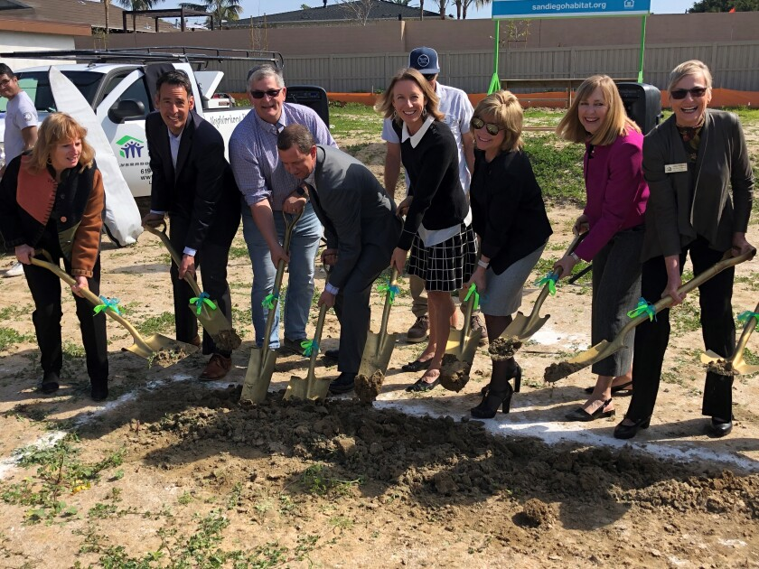Local officials, including Encinitas Mayor Catherine Blakespear and council members, recently broke ground on the site of two habitat for humanity houses.