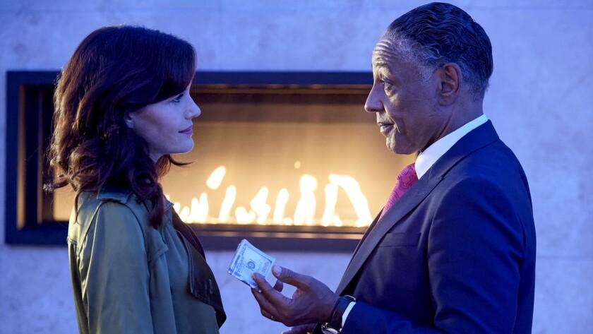 "Carla Gugino, left, and Giancarlo Esposito in ""Jett"" on Cinemax."