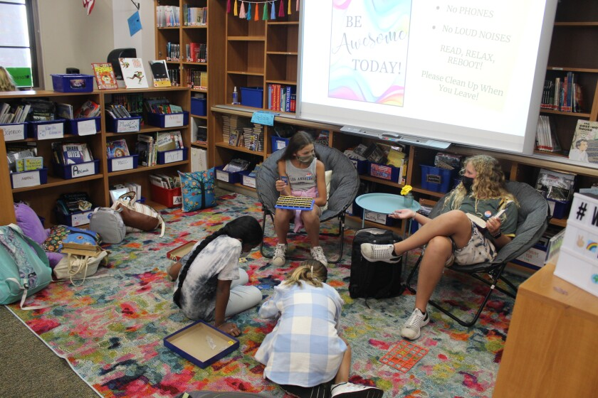 Sixth grade students play a game in the Eagle's Nest.