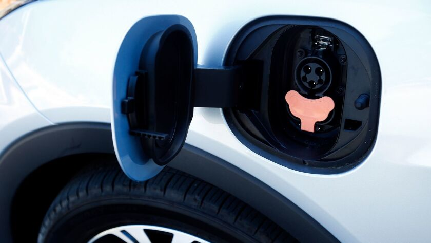 An electric Chevy Bolt EV charge port.