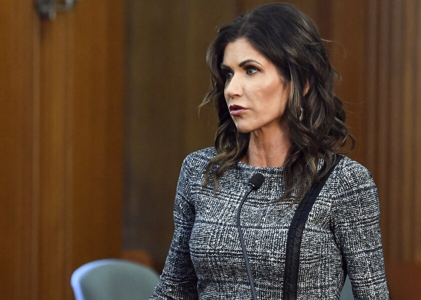 FILE - In this Oct. 13, 2020, file photo, South Dakota Gov. Kristi Noem speaks in Sioux Falls, S.D. Gov. Noem said Thursday, Sept. 30, 2021, that she'll no longer use Corey Lewandowski as an adviser. Noem's statement comes after Lewandowski was accused of making unwanted sexual advances toward a GOP donor in Las Vegas over the weekend. (Erin Bormett/The Argus Leader via AP, File)