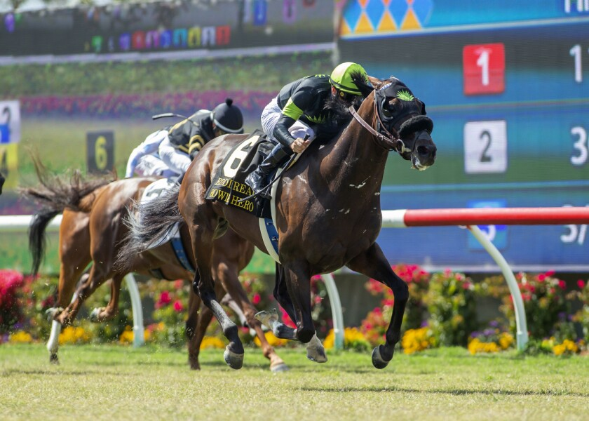In this image provided by Benoit Photo, Bowies Hero, with Flavien Prat aboard, wins the Grade II, $250,000 Eddie Read Stakes horse race Sunday, July 21, 2019, at Del Mar Thoroughbred Club in Del Mar, Calif. (Benoit Photo via AP)