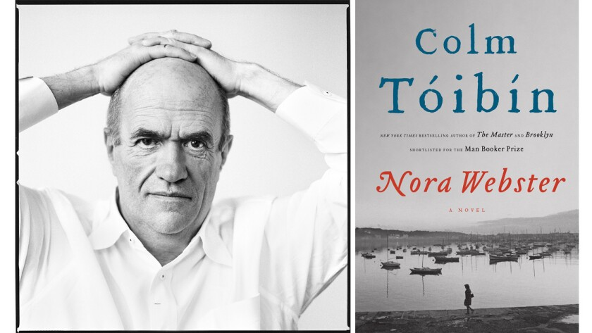 """Author Colm Toibin and the cover of his book, """"Nora Webster."""""""