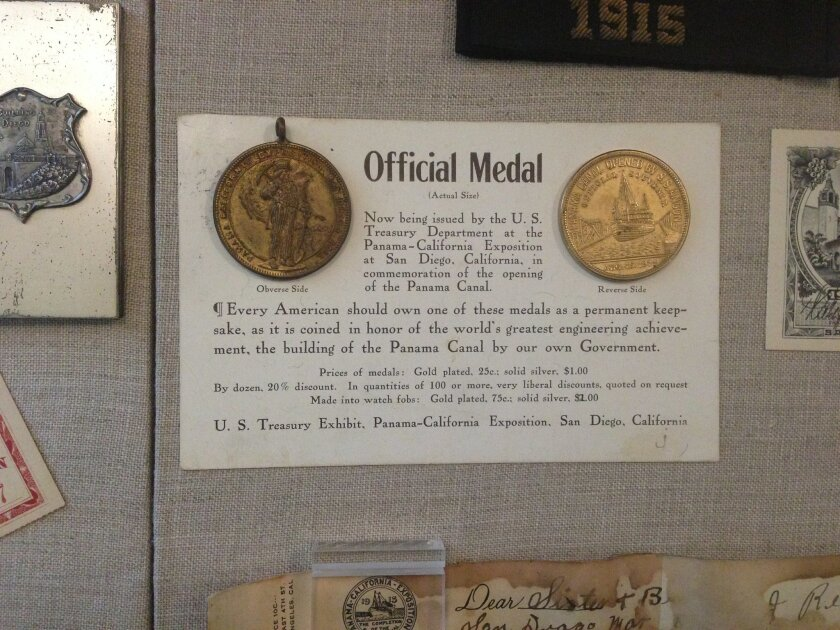 A U.S. Treasury medal, sold at the 1915-16 Panama-California Exposition, is one of more than 1,000 items on display at the Marston House, operated by the Save Our Heritage Organisation.