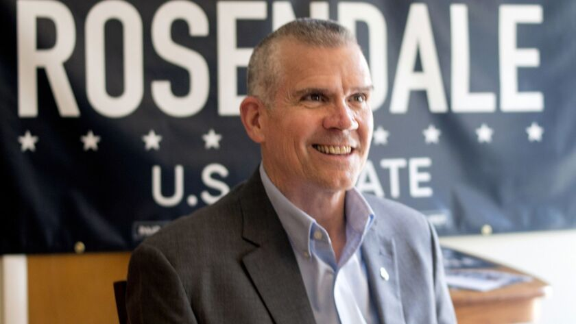 FILE - In this July 31, 2017 file photo, Montana state Auditor Matt Rosendale awaits an interview wi