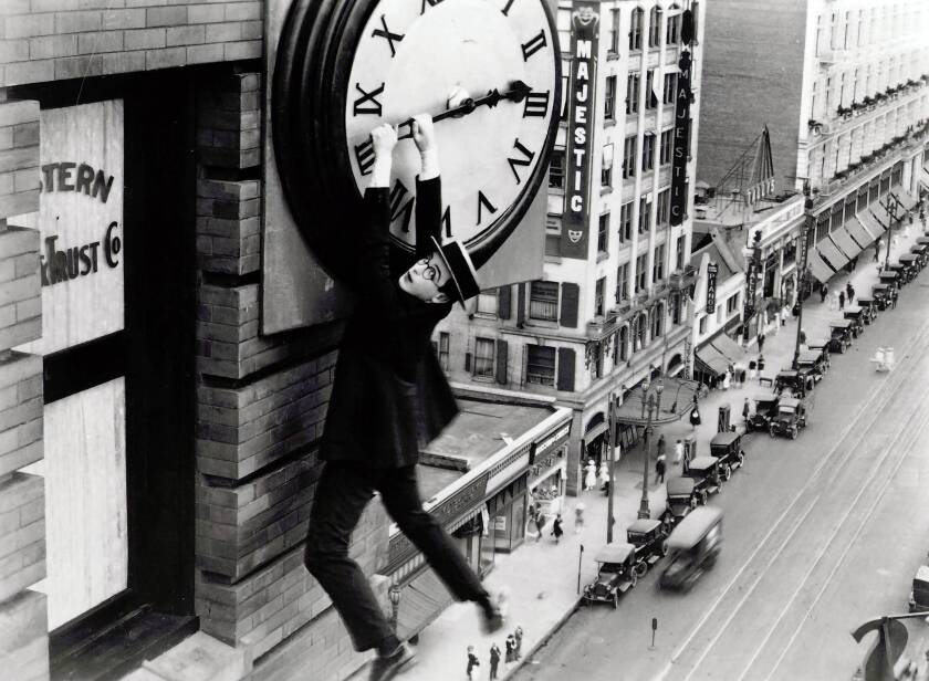 """The historic Brockman Building in downtown L.A. was featured in the 1923 silent movie staring Harold Lloyd, """"Safety Last."""""""