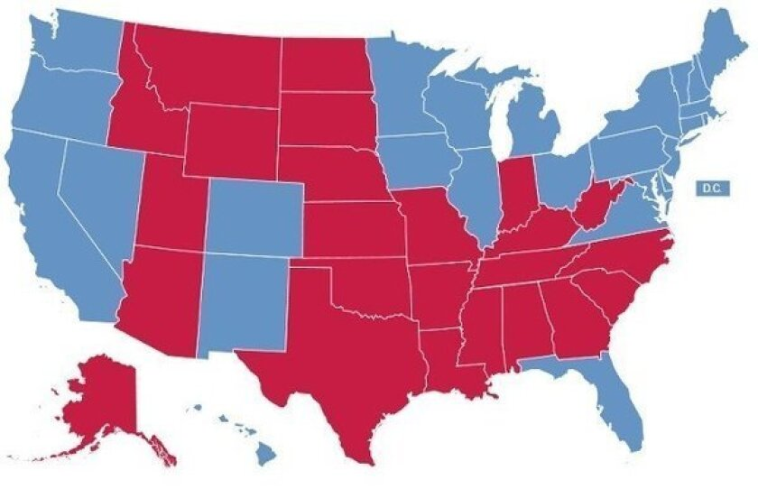 The final electoral map, showing results from the 2012 presidential election.