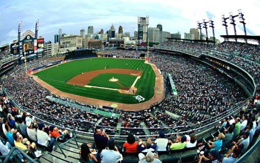 Comerica Park, home of the Detroit Tigers, offers a fine view of downtown Detroit.