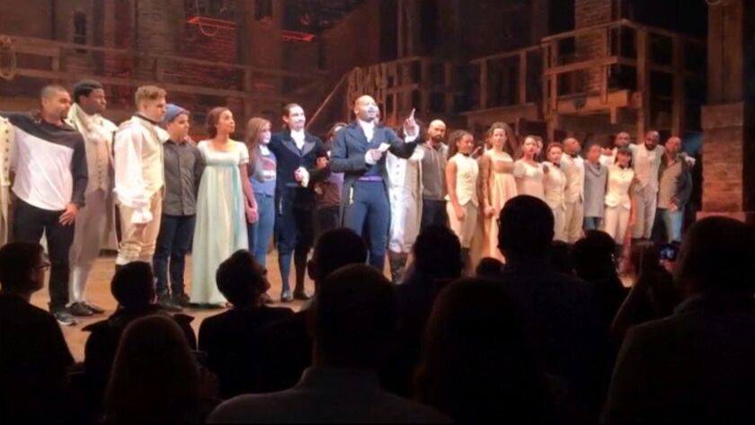 "Actor Brandon Victor Dixon of the Broadway musical ""Hamilton"" addresses Vice President-elect Mike Pence."