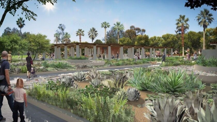 The top of the 800-space parking garage proposed south of the Spreckels Organ Pavilion would be land