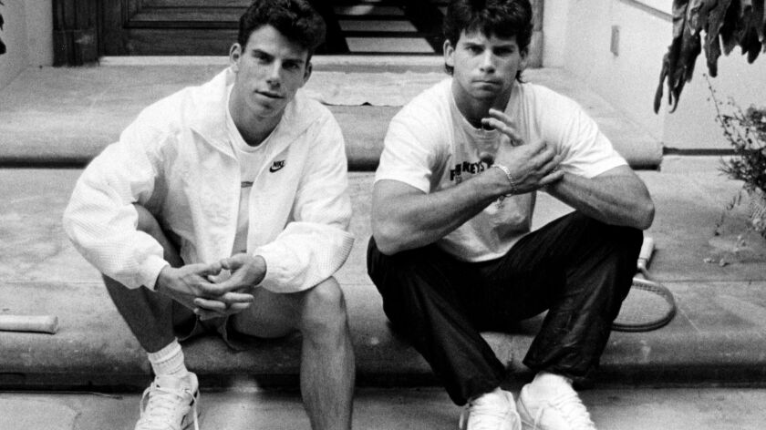 Menendez brothers Erik, left, and Lyle on the steps of their Beverly Hills home in 1989.