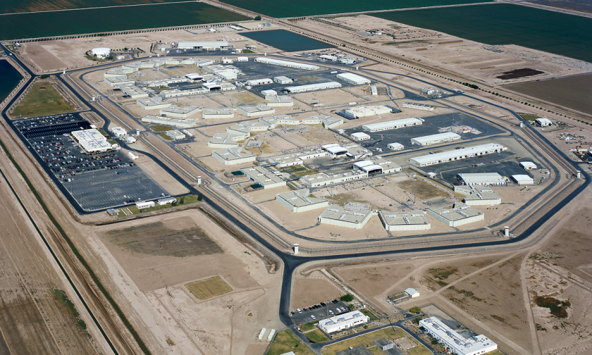 An aerial view of Calipatria State Prison in Calipatria, about 140 miles northeast of San Diego. An inmate died after a fight Thursday in a maximum-security yard.