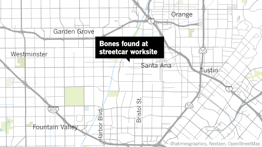 "A label reading ""Bones found at streetcar worksite"" points to the 2000 block of West 5th Street on a map of Santa Ana"