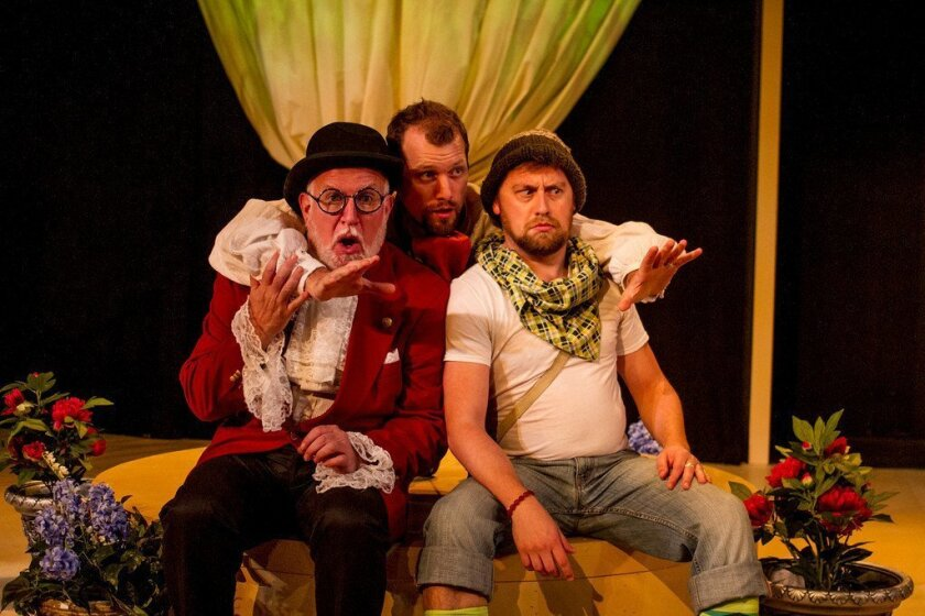 """Tim West, Ryan Andrews and Steve Smith (left to right) in Scripps Ranch Theatre's production of David Ives' """"The Liar."""""""