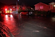 Water main break floodwater comes close to homes