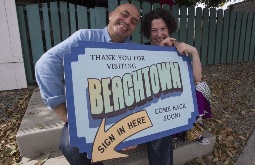 "Herbert Siguenza and Rachel Grossman photographed in 2018 during rehearsals for their audience-interactive stage comedy ""Beachtown,"" which will return in a virtual form in June with a COVID-19 theme."