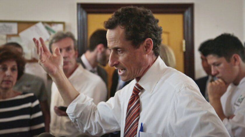 Anthony Weiner, New York mayoral candidate, speaks during a news conference.